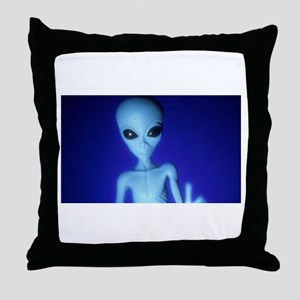 The Blue Alien Throw Pillow