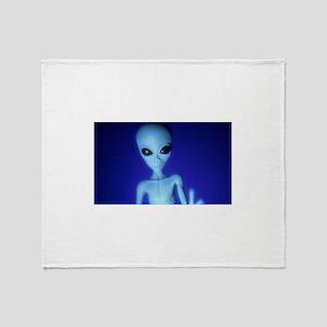 The Blue Alien Throw Blanket