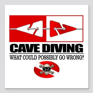 """Cave Diving (Line Markers) Square Car Magnet 3"""" x"""