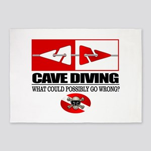 Cave Diving (Line Markers) 5'x7'Area Rug