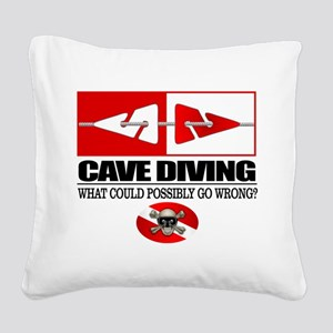 Cave Diving (Line Markers) Square Canvas Pillow