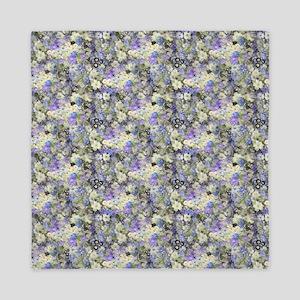 Blue And Cream Floral Queen Duvet