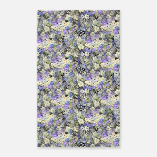 Blue And Cream Floral 3'X5' Area Rug