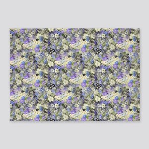 Blue And Cream Floral 5'X7'area Rug