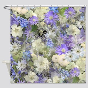Blue And Cream Floral Shower Curtain