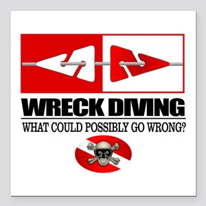 "Wreck Diving (Line Markers)2 Square Car Magnet 3"""