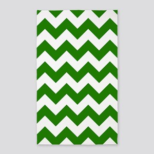 Green Chevron Pattern 3'X5' Area Rug