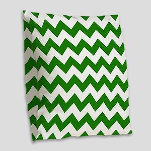 Green Chevron Pattern Burlap Throw Pillow