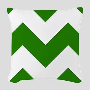 Green Chevron Pattern Woven Throw Pillow