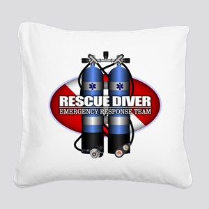 Resuce Diver (Scuba Tanks) Square Canvas Pillow