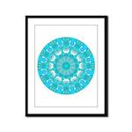 Teal Wheel of Fire Framed Panel Print