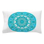 Teal Wheel of Fire Pillow Case
