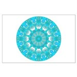 Teal Wheel of Fire Large Poster