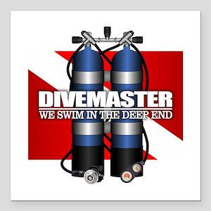 """Divemaster (Scuba Tanks) Square Car Magnet 3"""" x 3"""""""