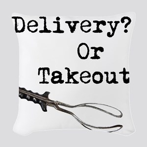 Delivery or Takeout final copy Woven Throw Pil