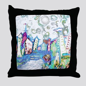 Winter City Van Gogh Throw Pillow