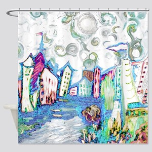 Winter City Van Gogh Shower Curtain