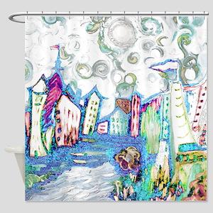Winter City Van Gogh Shower Curtain
