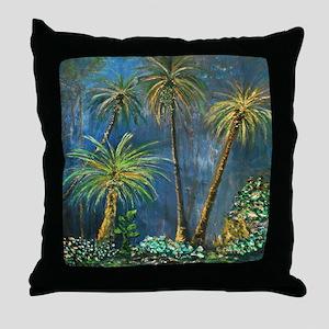 Tropical Palm Tree Garden Throw Pillow