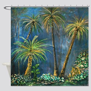 Tropical Palm Tree Garden Shower Curtain