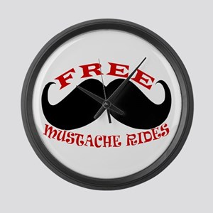 Free Mustache Rides Large Wall Clock