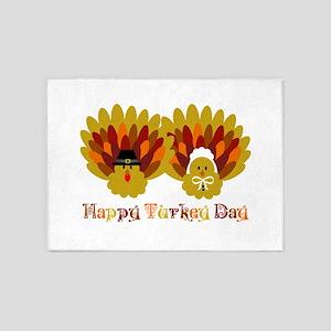 Happy Turkey Day 5'x7'Area Rug