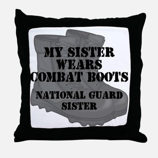 National Guard Sister Combat Boots Throw Pillow