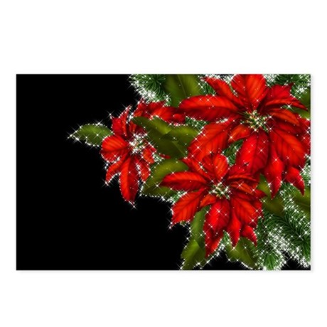 SPARKLING POINSETTIAS Postcards (Package of 8)