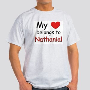 My heart belongs to nathanial Ash Grey T-Shirt