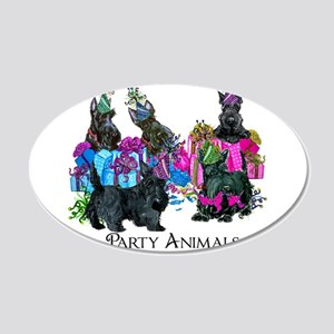 Scottish Terrier Party Anima 20x12 Oval Wall Decal
