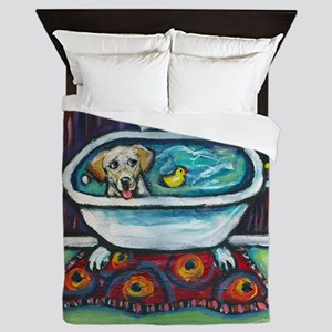 Yellow Labrador Happy Bath Queen Duvet