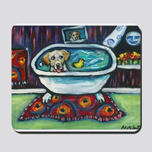 Yellow Labrador Happy Bath Mousepad