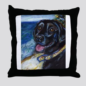 Happy Black Labrador Throw Pillow
