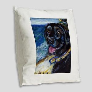 Happy Black Labrador Burlap Throw Pillow