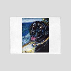 Happy Black Labrador 5'x7'Area Rug