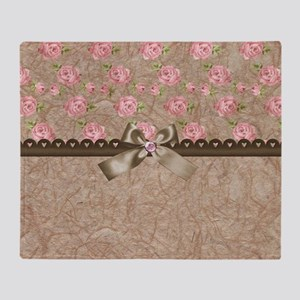 Vintage Elegant Pink Roses  Throw Blanket