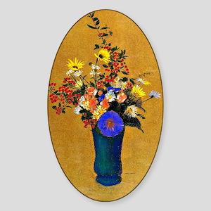 Odilon Redon: Bouquet of Flowers Sticker (Oval)