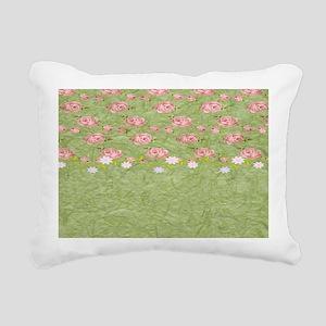 Pink Roses Rectangular Canvas Pillow