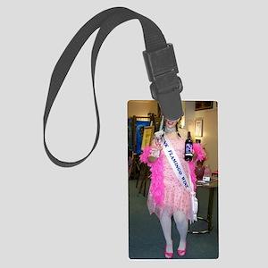 Drunk Flamingo Wine Girl Large Luggage Tag