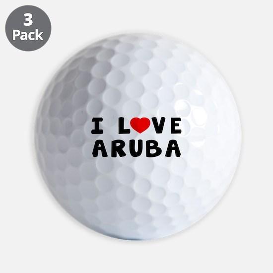 I Love Aruba Golf Ball