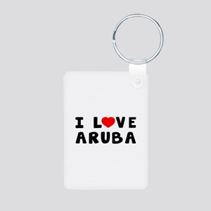 I Love Aruba Aluminum Photo Keychain