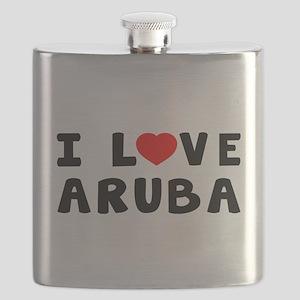 I Love Aruba Flask
