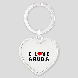 I Love Aruba Heart Keychain