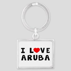 I Love Aruba Landscape Keychain