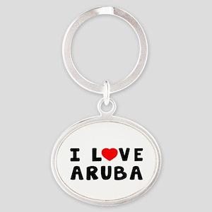 I Love Aruba Oval Keychain