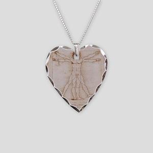 Vitruvian Man Necklace Heart Charm