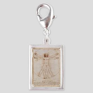 Vitruvian Man Silver Portrait Charm