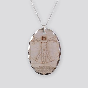 Vitruvian Man Necklace Oval Charm