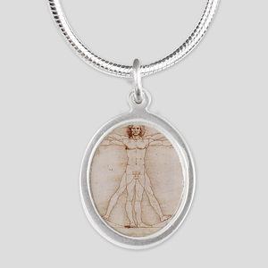 Vitruvian Man Silver Oval Necklace