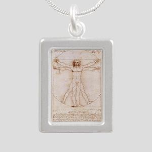 Vitruvian Man Silver Portrait Necklace